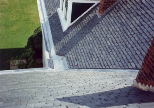 Birds Eye View Of Random Slate Roof With Built-In Gutters. All Metal Work Was Done In Lifetime, Terne Coated Stainless Steel. Troy, NY