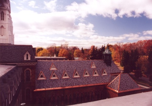 Newly Completed Slate Roofing On Chapel, Convent Of The Sacred Heart, Albany, NY - Copper Was Selected For Built-In Gutters, Valleys And All Flashing Work